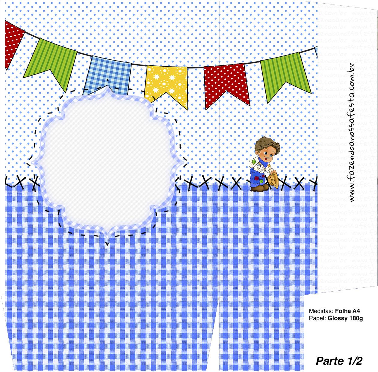 Sacolinha Surpresa Festa Junina Azul  Parte 1  Fazendo a Nossa Festa