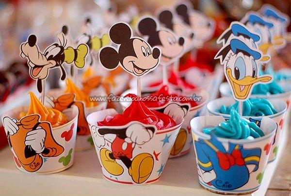 Saias Wrappers para Cupcakes Festa Mickey e sua Turma