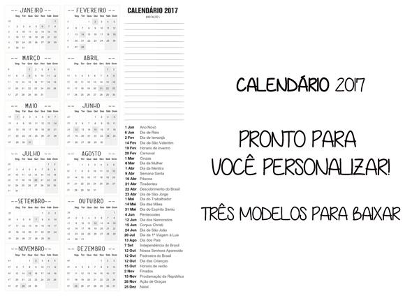calendário 2017 com fundo transparente para imprimir