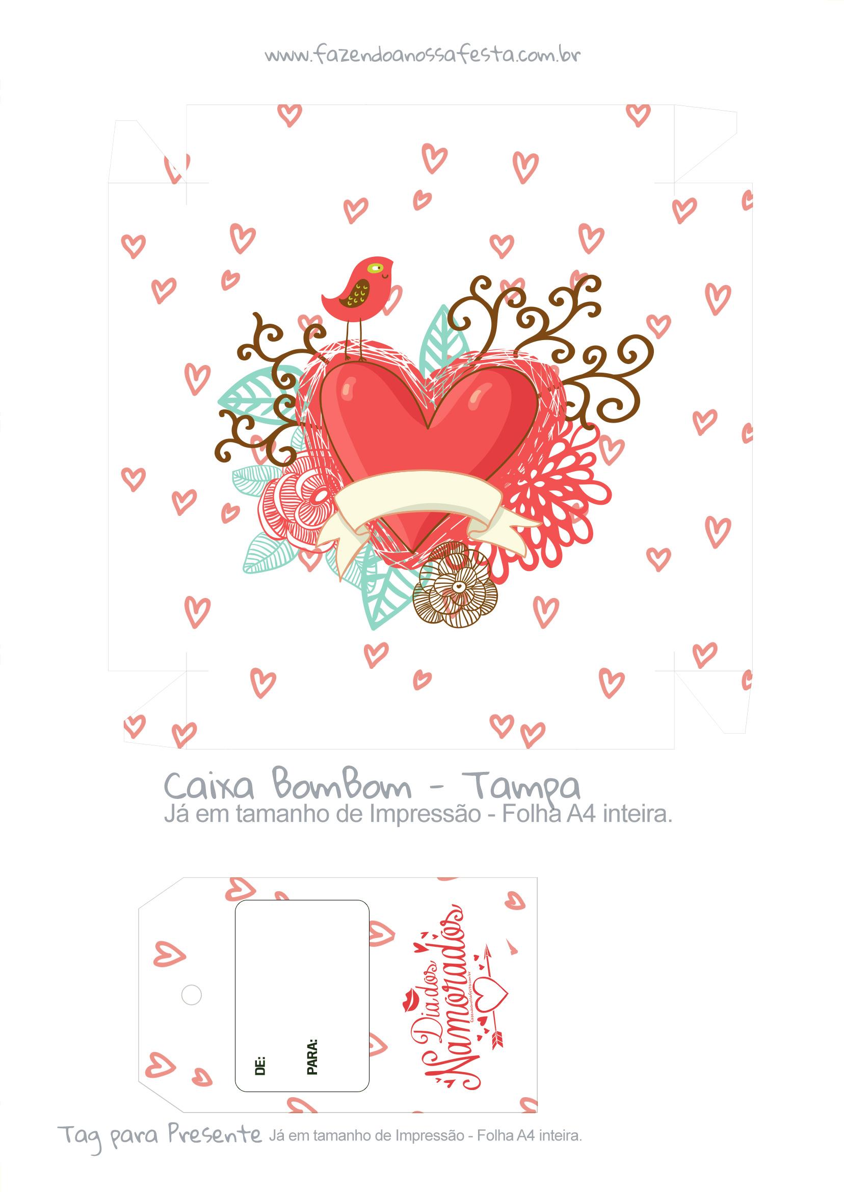 Caixa Bombom Dia dos Namorados Coracao - parte 1