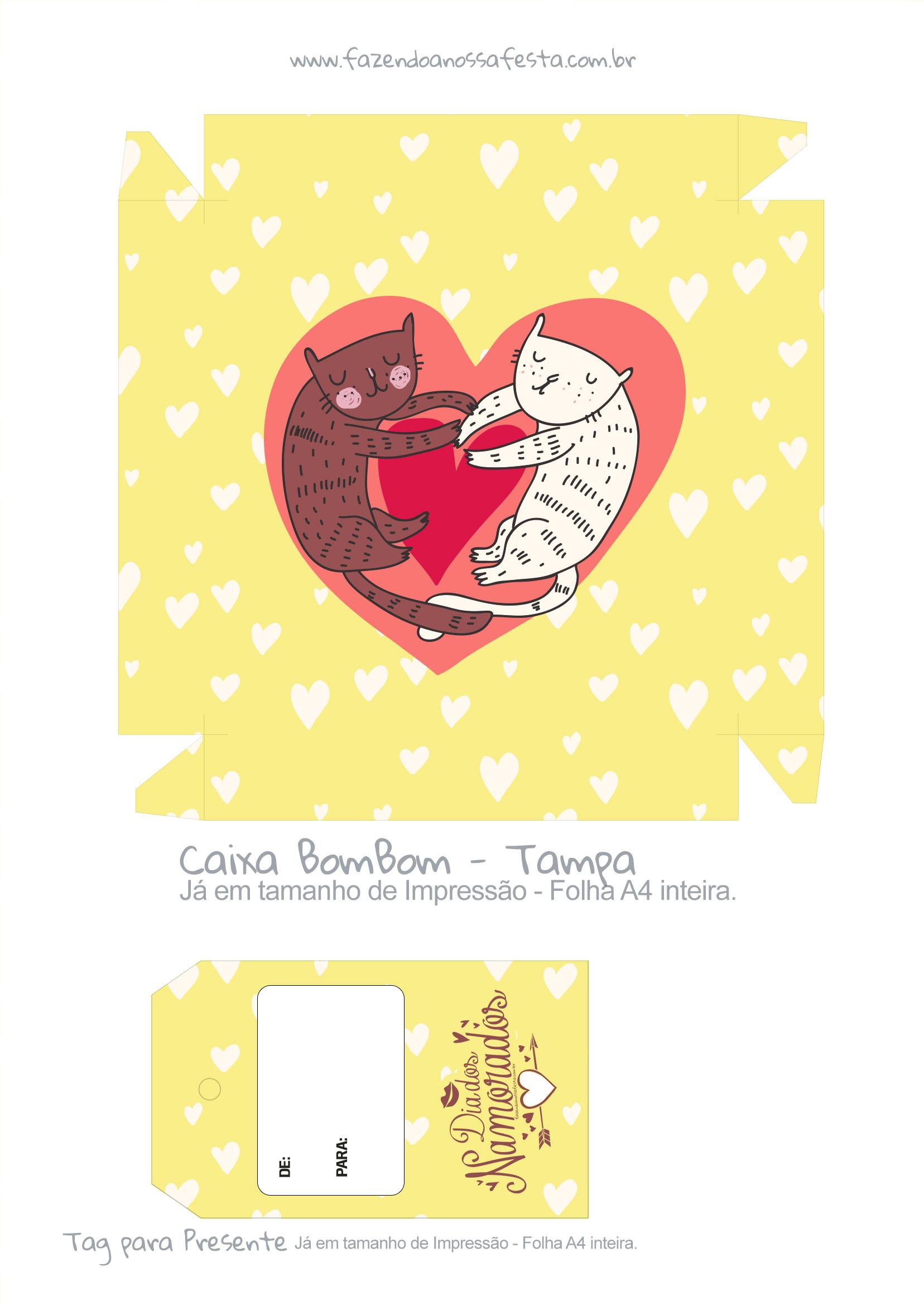 Caixa Bombom Dia dos Namorados Gatinhos Amarelo - parte 1