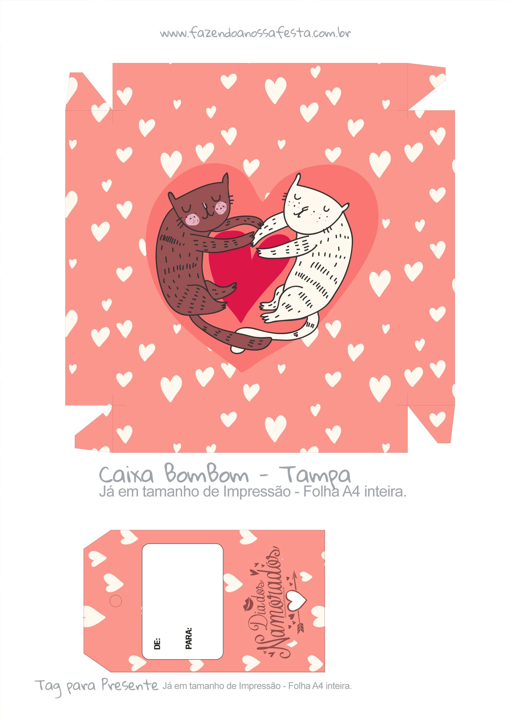 Caixa Bombom Dia dos Namorados Gatinhos - parte 1