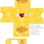 Caixa Cubo Dia dos Namorados Amarela - parte de cima
