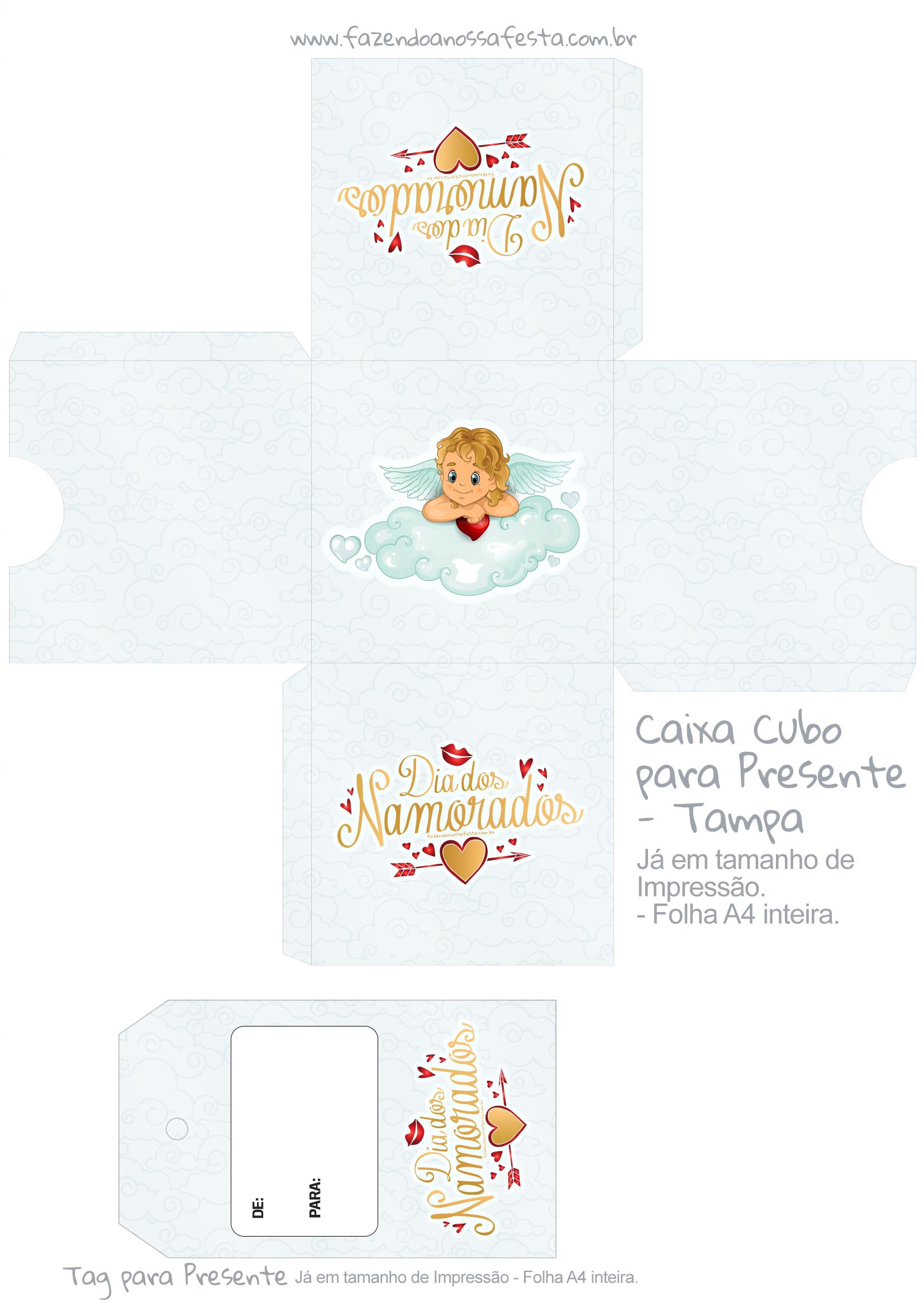 Caixa Cubo Dia dos Namorados Anjinho - tampa