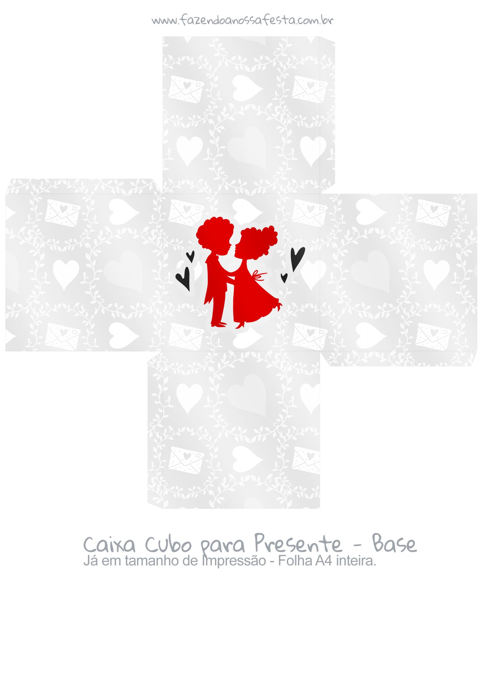 Caixa Cubo Dia dos Namorados Casal Apaixonado - base