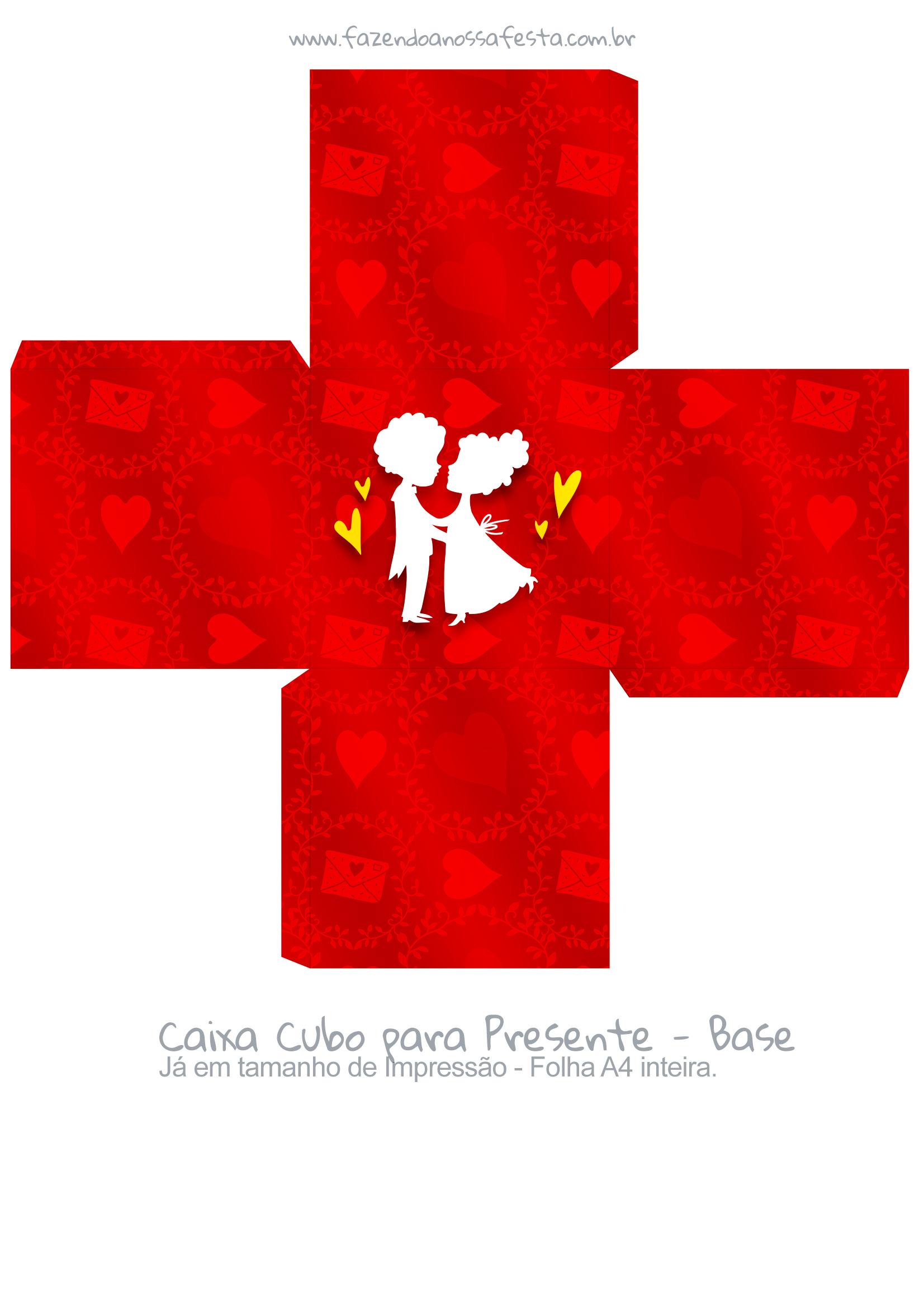 Caixa Cubo Dia dos Namorados Casal Vermelho - base