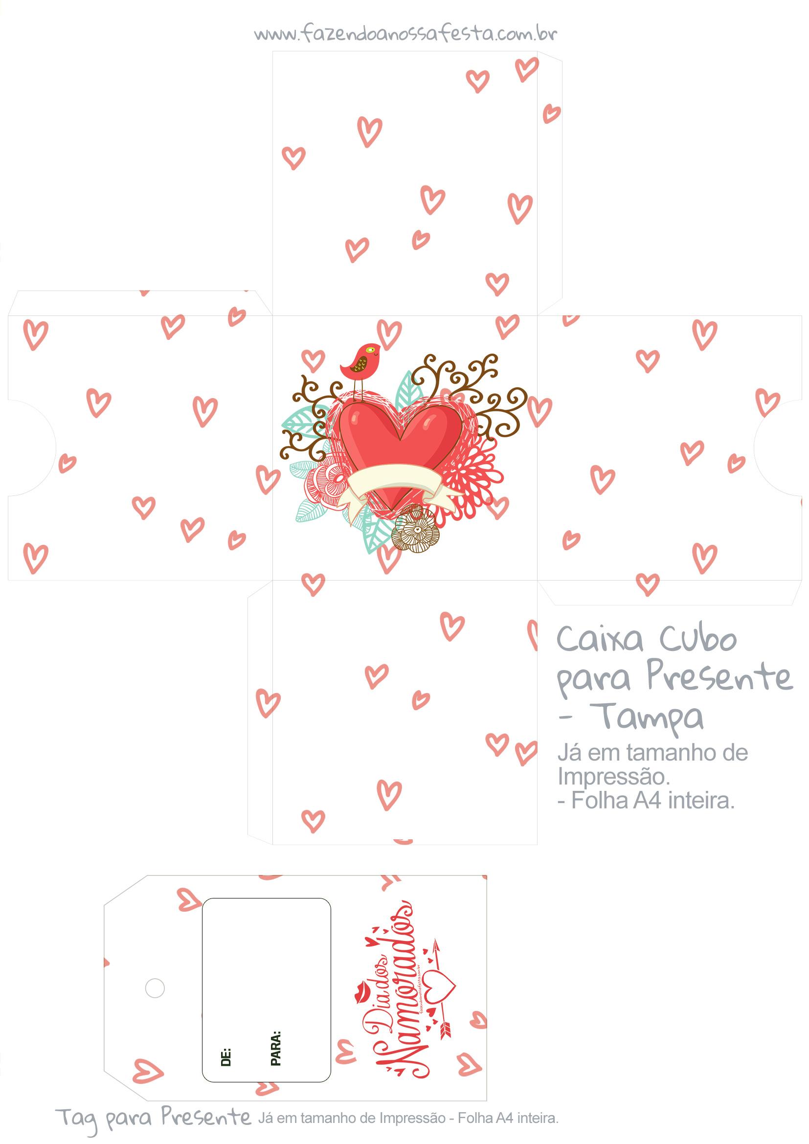 Caixa Cubo Dia dos Namorados Coracao - tampa