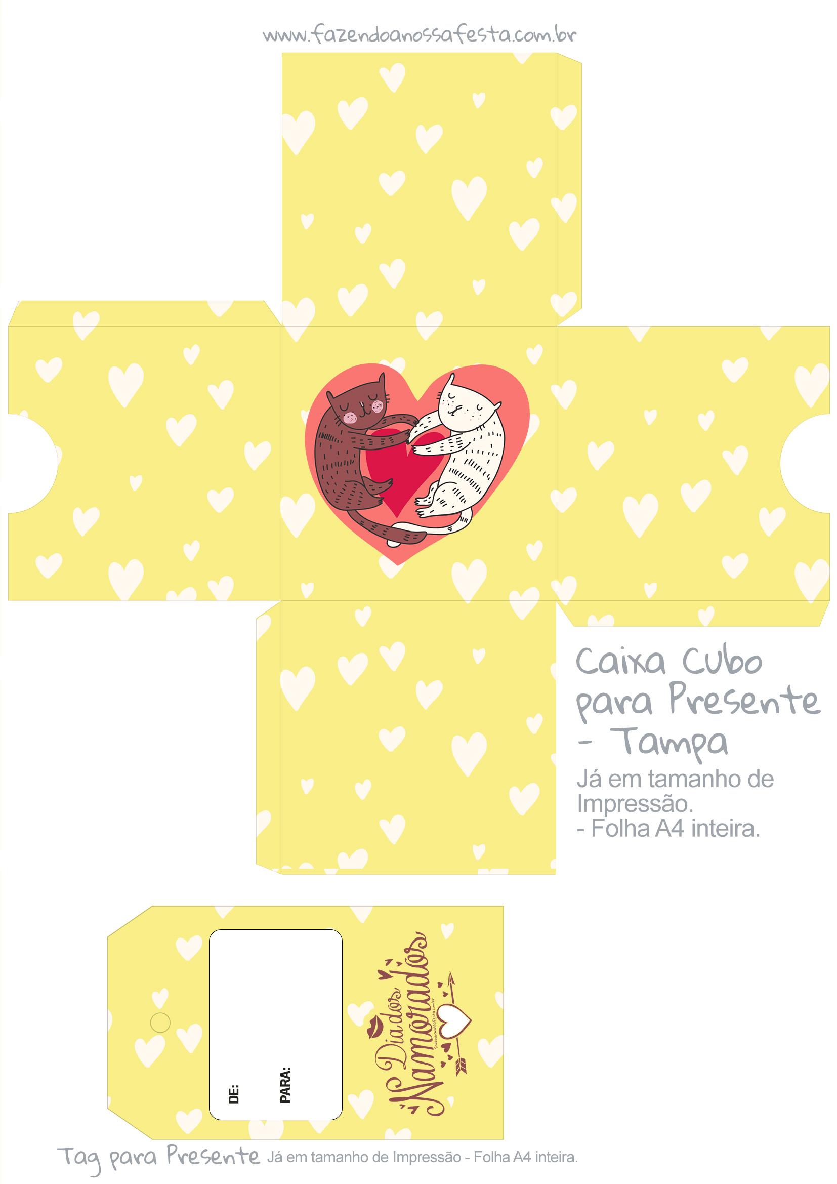 Caixa Cubo Dia dos Namorados Gatinhos Amarelo - tampa
