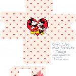 Caixa Cubo Dia dos Namorados Kit Presente Mickey e Minnie Vintage Vermelho - Tampa