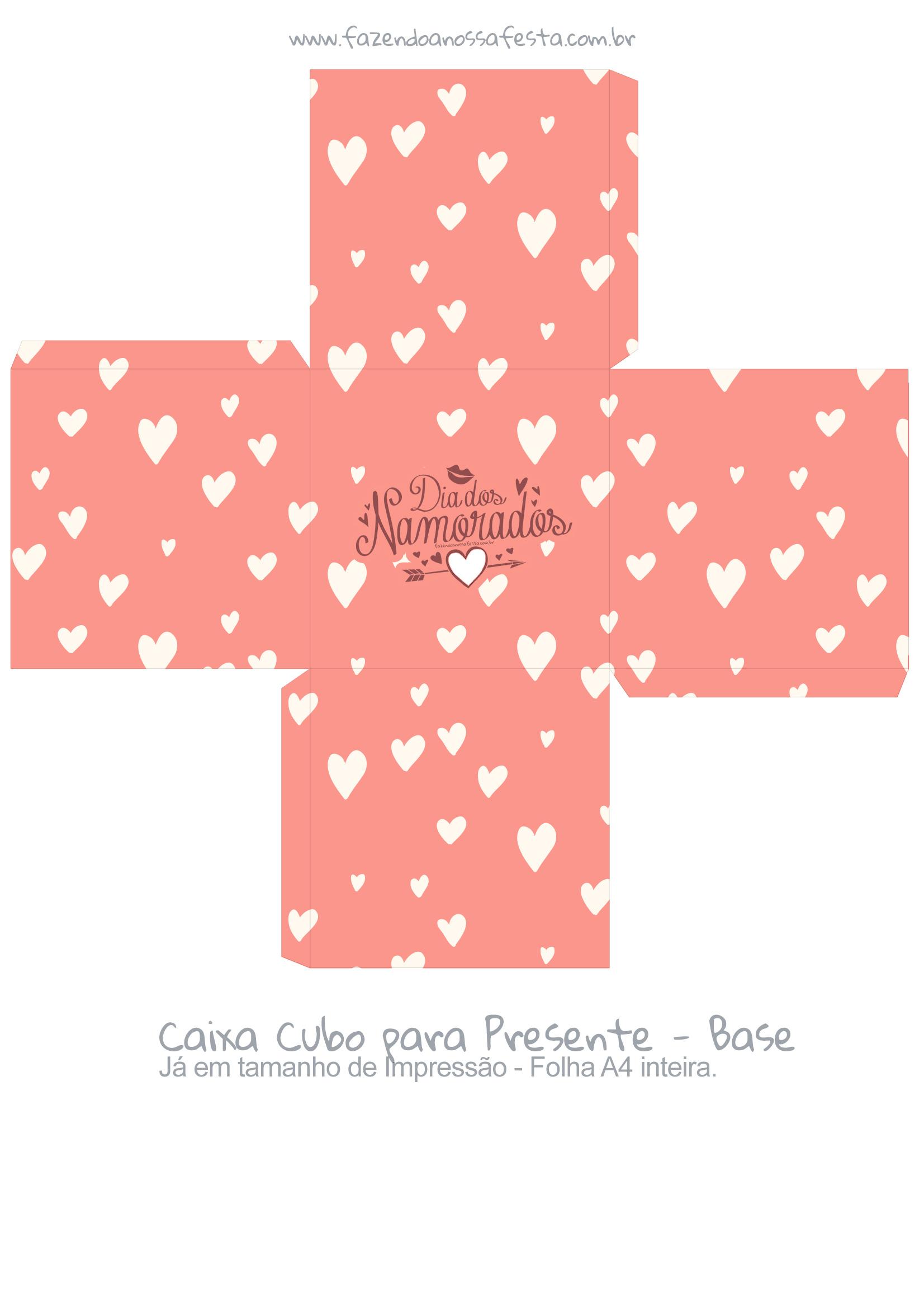 Caixa Cubo Dia dos Namorados Salmao - Base