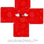 Caixa Cubo Dia dos Namorados Vermelho 2- base