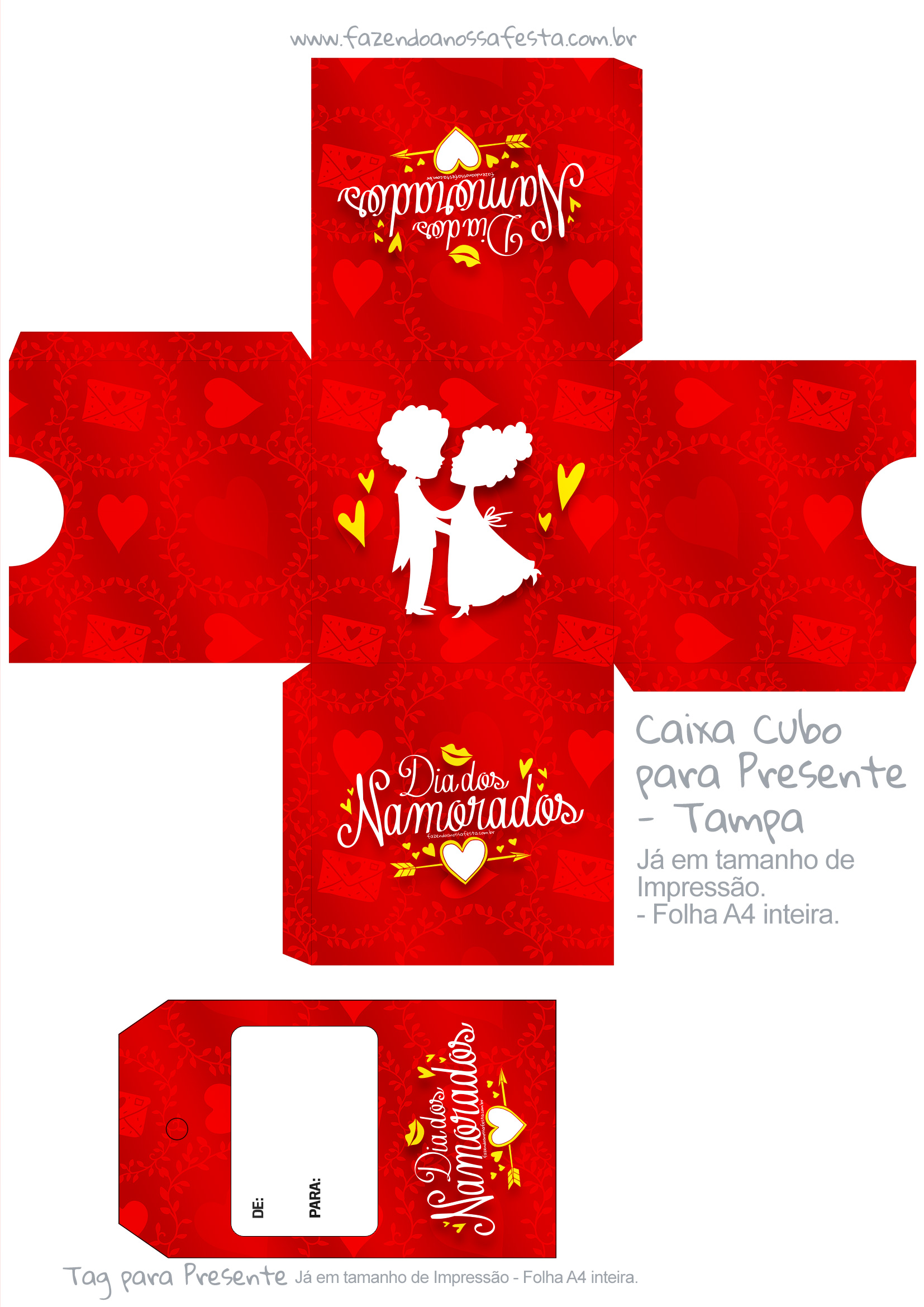 Caixa Cubo Dia dos Namorados Vermelho - tampa
