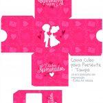 Caixa Cubo Dia dos Namoraods Rosa- tampa