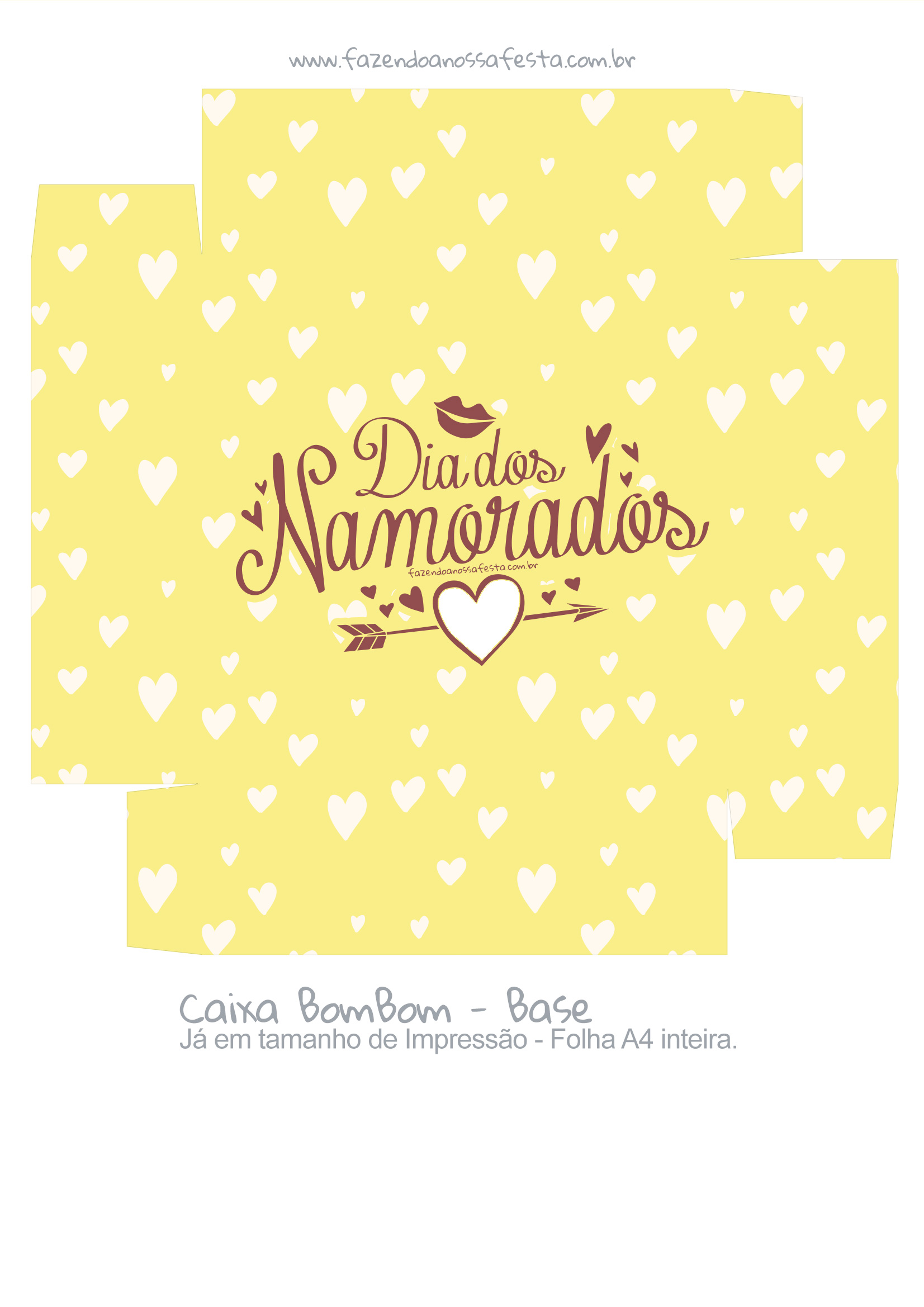 Caixa bombom dia dos Namorados Coracao Amarelo - parte 2