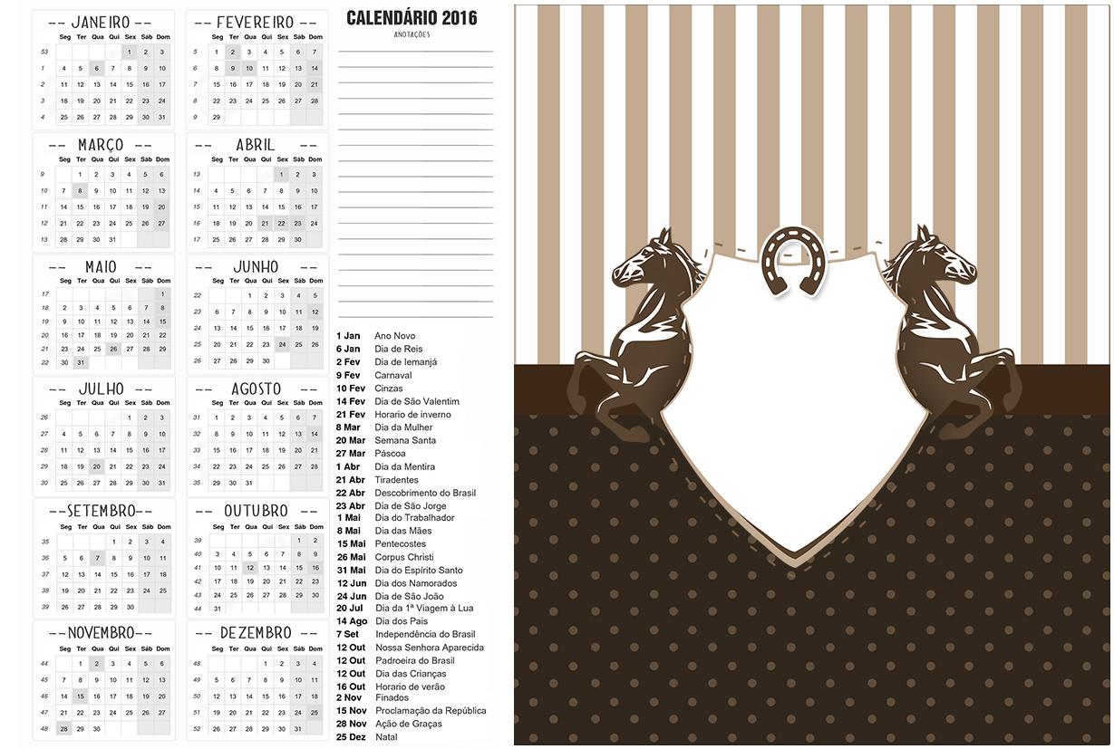 Calendário 2016 Cavalo
