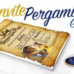 Convite Pergaminho Bela e a Fera Grátis para Imprimir