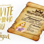 Convite Pergaminho Rapunzel Grátis para Imprimir
