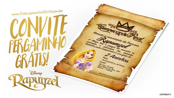 Convite Pergaminho Rapunzel