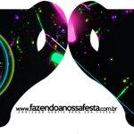 Convite Xicara Kit Festa Neon