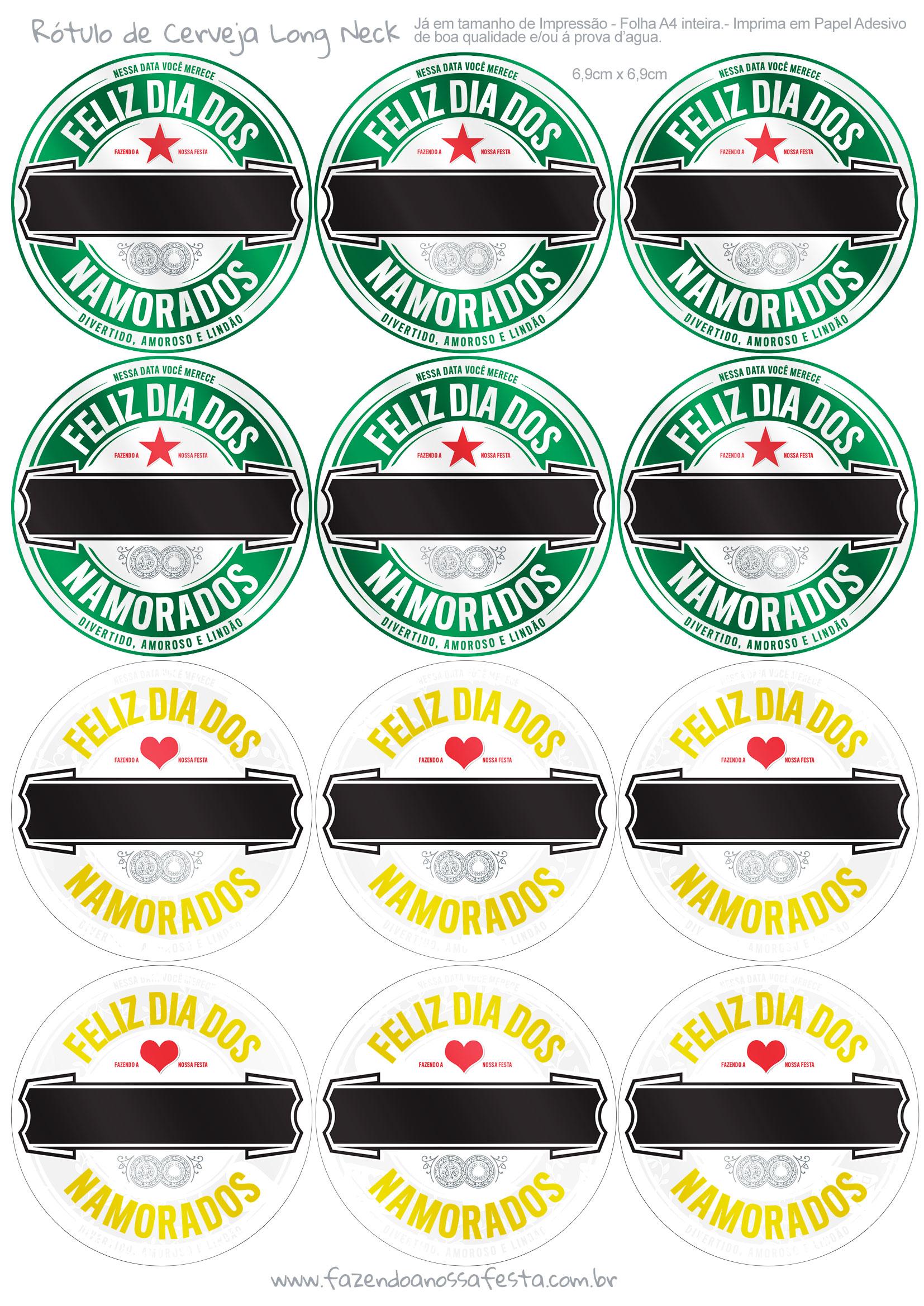 Molde para Cerveja Dia dos Namorados Verde e Amarelo