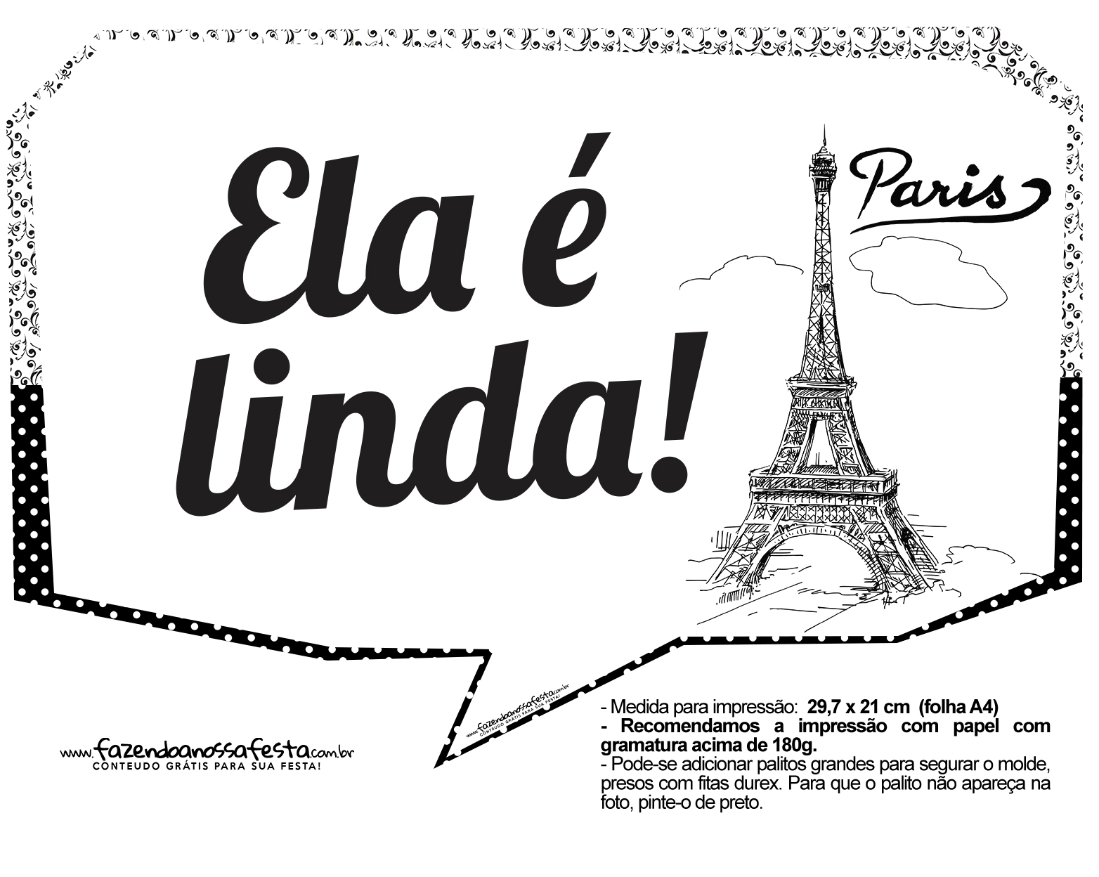 Plaquinhas Paris Preto e Branco 17