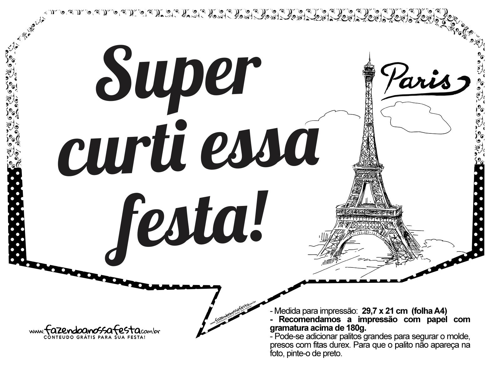 Plaquinhas Paris Preto e Branco