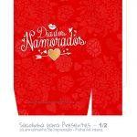 Sacolinha Dia dos Namorados Vermelha e Dourado