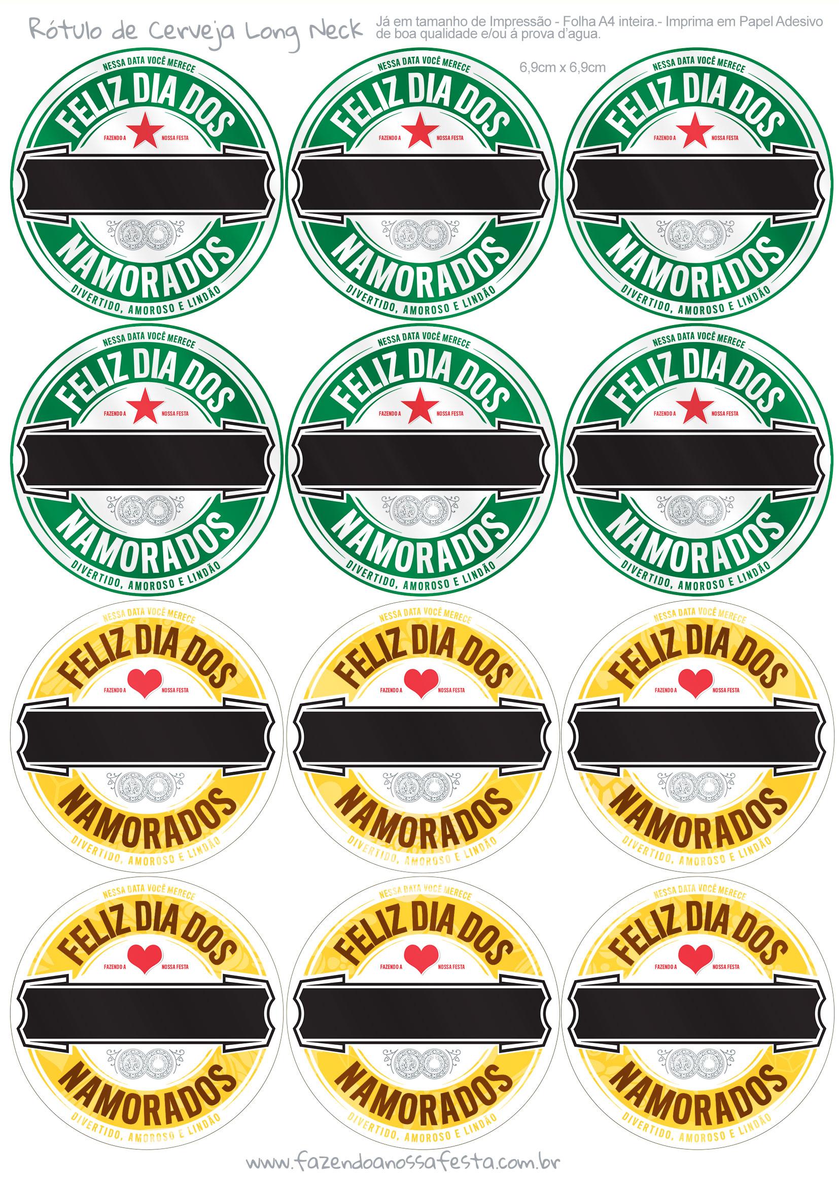 Rótulo Cerveja Dia dos Namorados Verde e Amarela