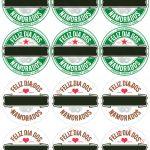 Rótulo Cerveja Long Neck Dia dos Namorados Verde e Marrom
