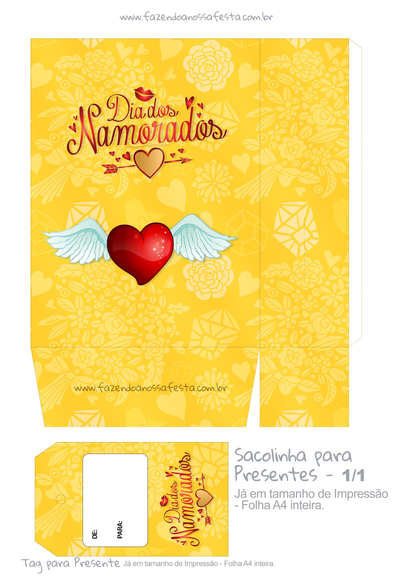 Sacolinha Dia dos Namorados Amarela