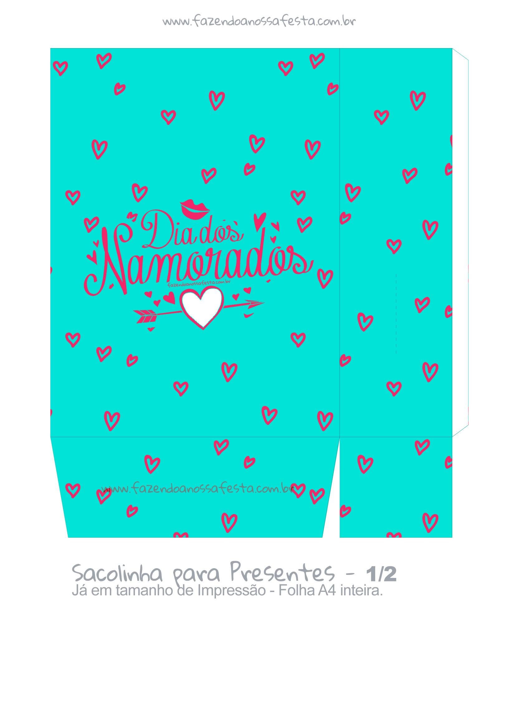 Sacolinha Dia dos Namorados Azul Coracao