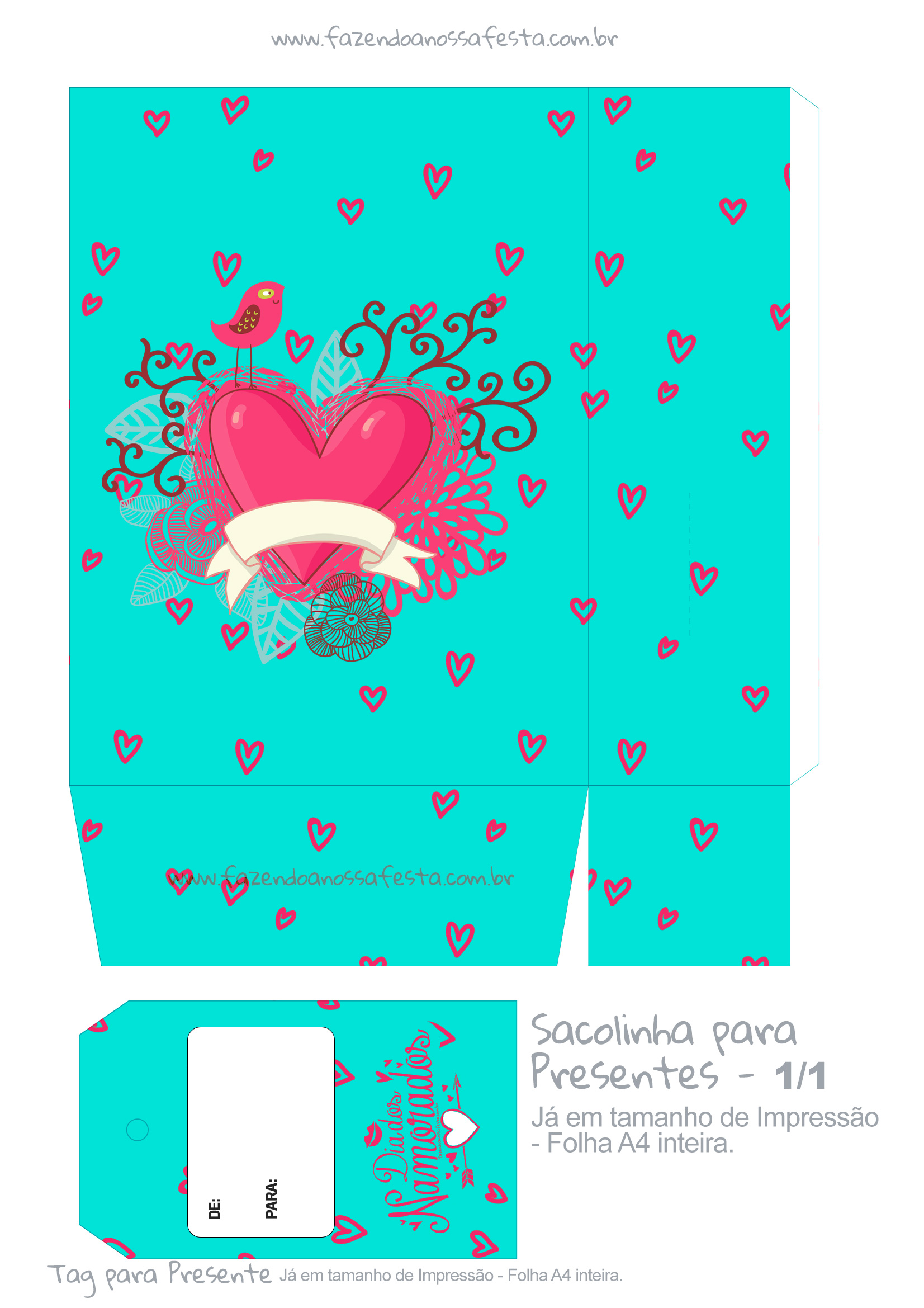 Sacolinha Dia dos Namorados Azul Tiffany - parte 1