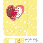 Sacolinha Dia dos Namorados Gatinhos Amarelo