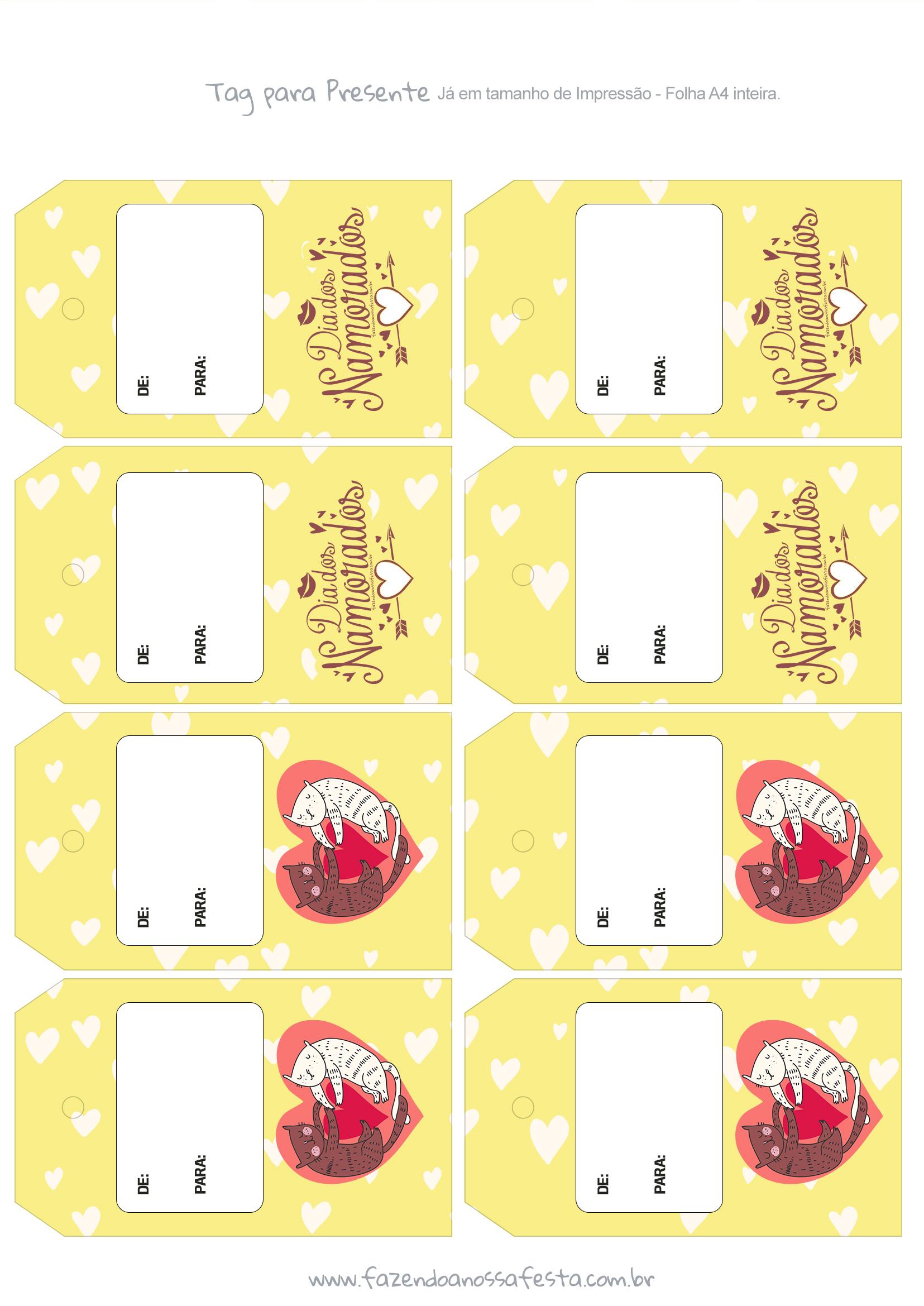 Tag Presente Dia dos Namorados Amarelo