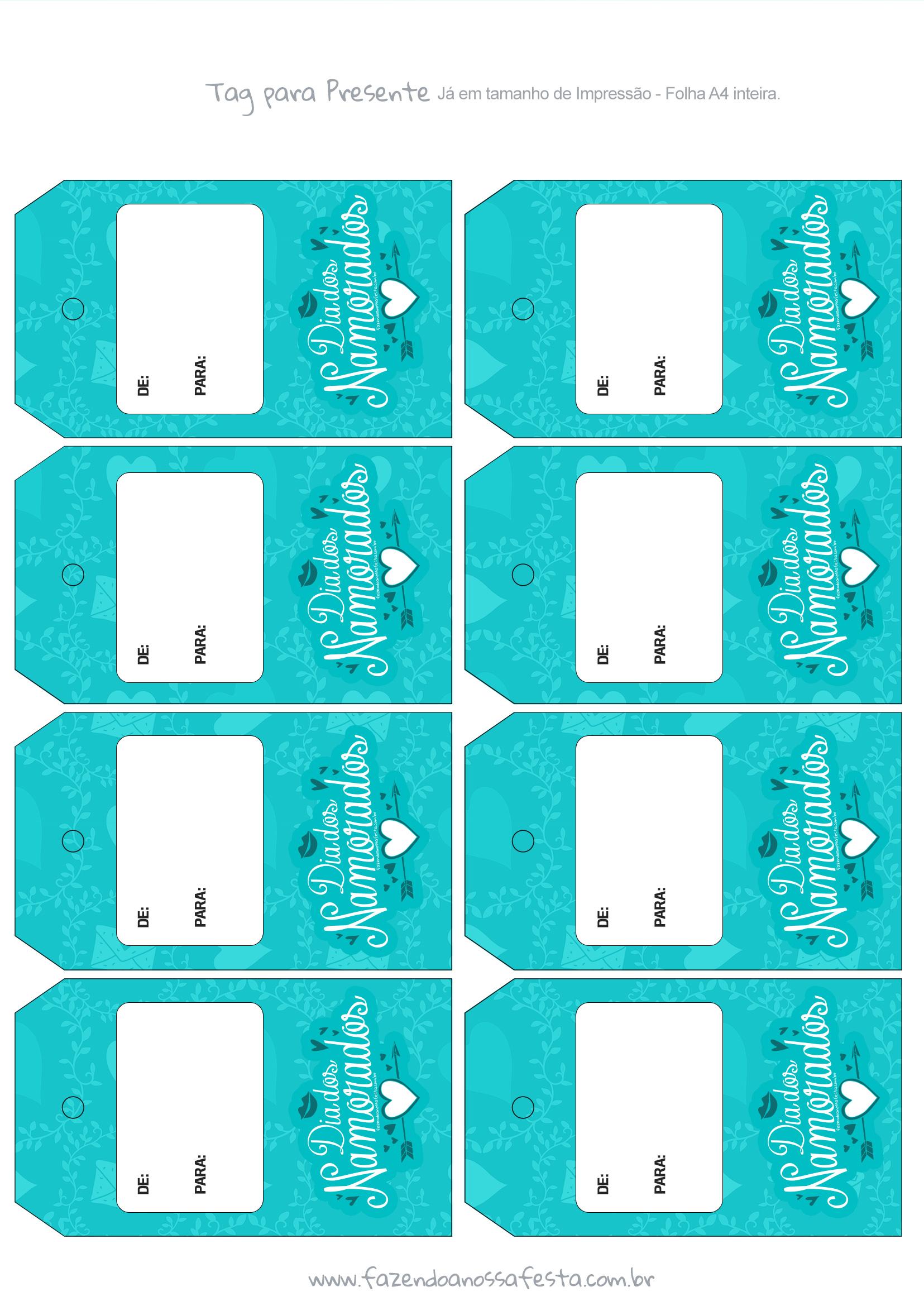Tag Presente Dia dos Namorados Azul