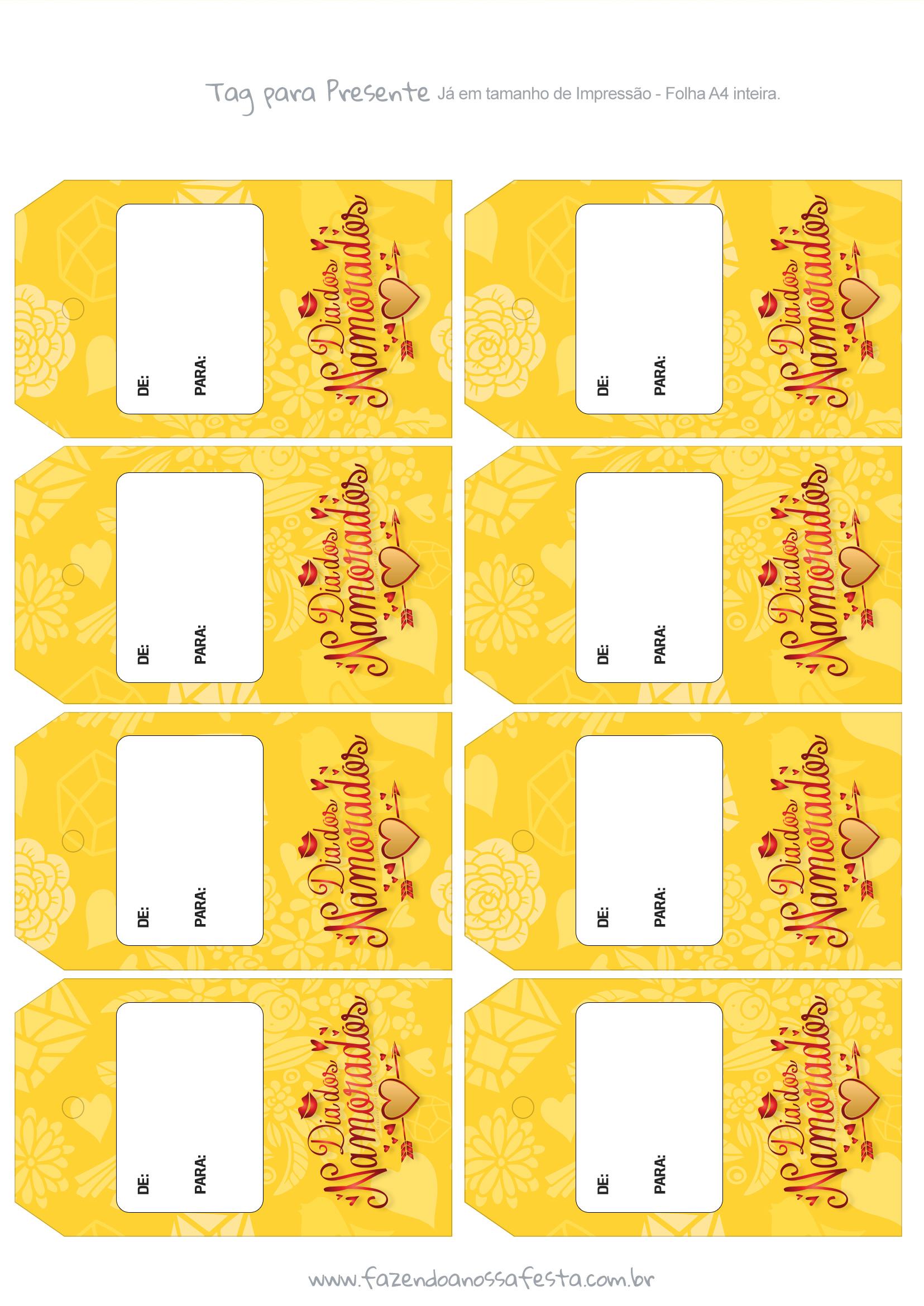 Tag para Presente Dia dos Namorados Amarela