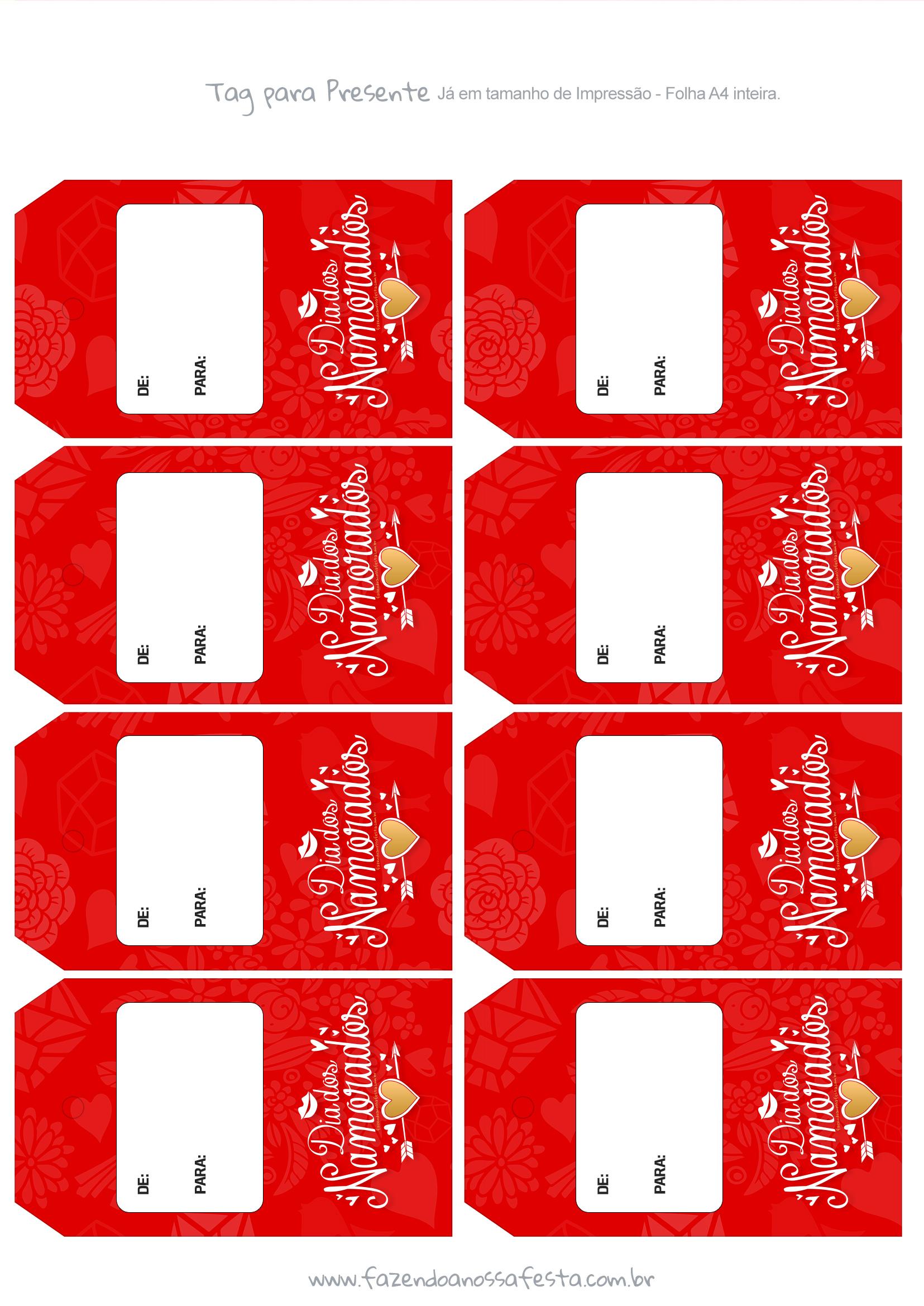 Tag para Presente Dia dos Namorados Vermelha e dourada