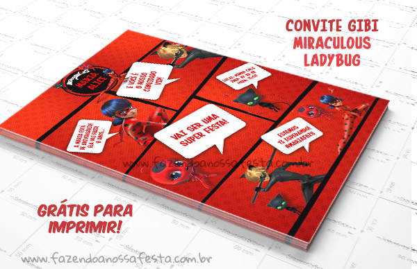Convite Gibi Miraculous Ladybug