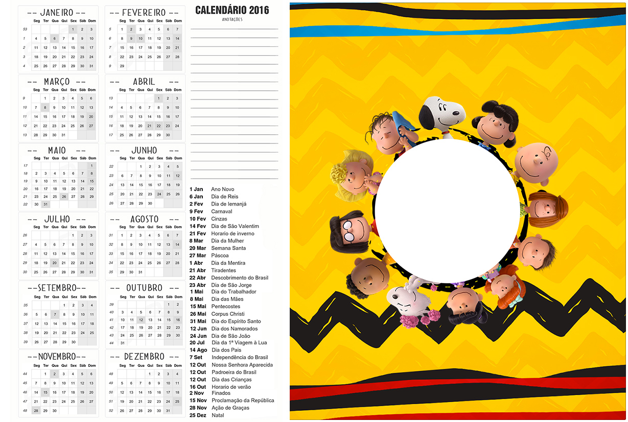 Calendario 2016 2 Snoopy e sua Turma