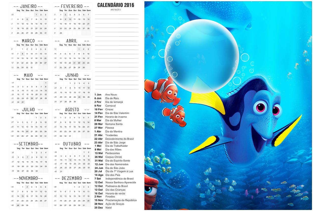 Convite Calendario 2016 Procurando Dory