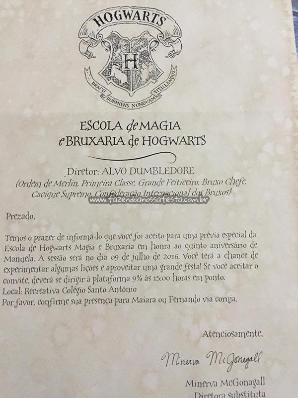 Convite Festa Harry Potter da Manuela