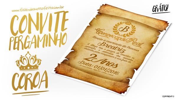 Convite Pergaminho Coroa de Princesa Modelo