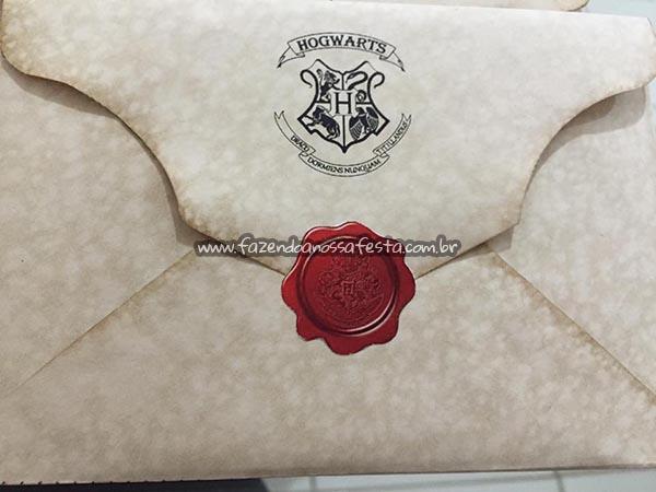 Envelope do Convite Festa Harry Potter da Manuela