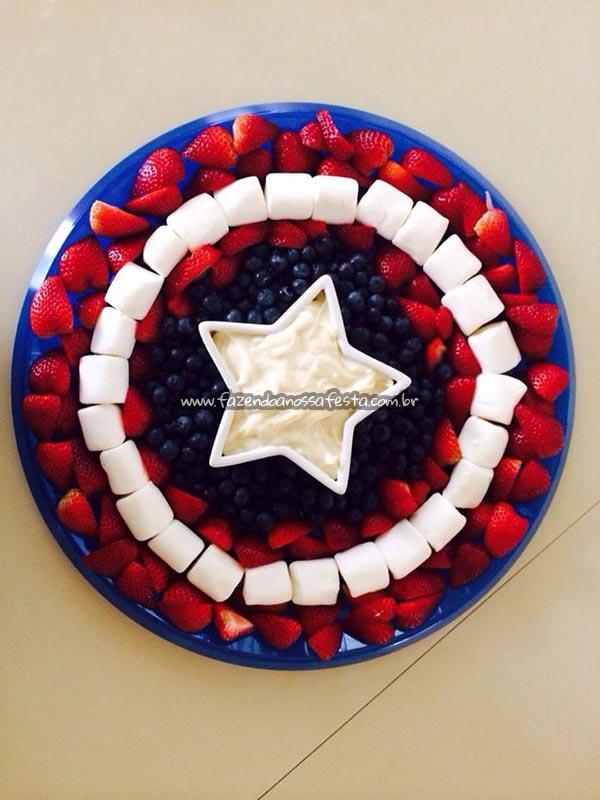 Escudo Capitao America com Frutas Festa Vingadores do Luca