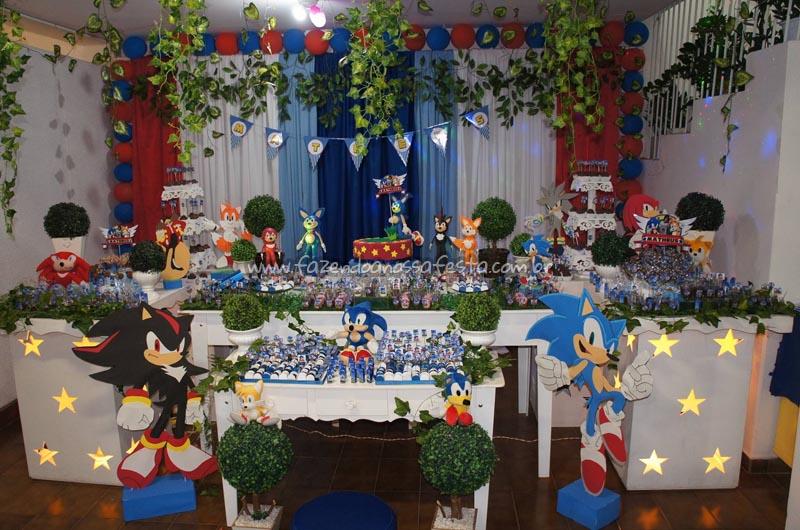 Painel de festa com Tecido Sonic