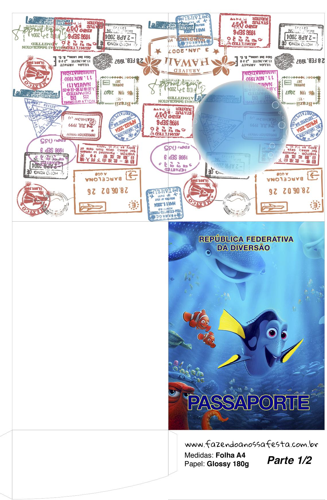 Passaporte parte de dentro Procurando Dory