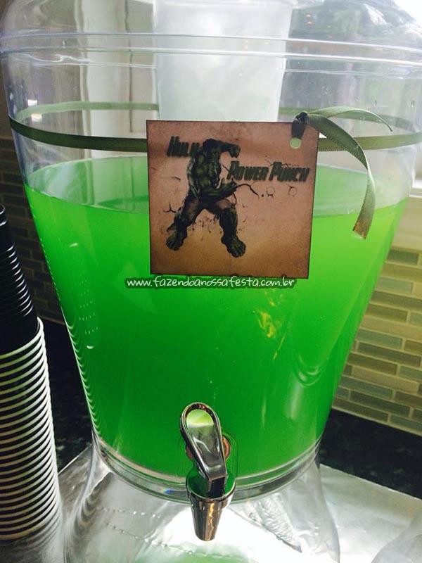 Suco do Hulk Festa Infantil Vingadores do Luca