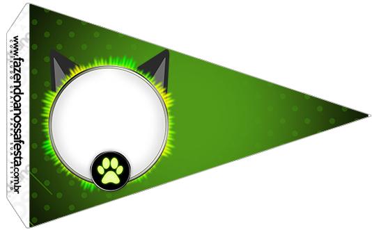 Bandeirinha Sanduiche 4 Kit Festa Miraculous Cat Noir