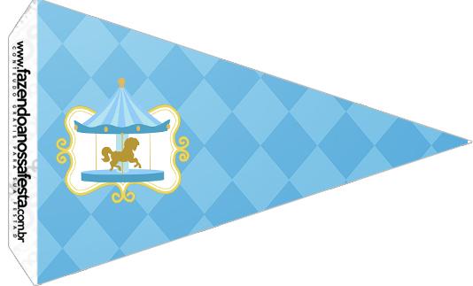 Bandeirinha Sanduiche 5 Kit Festa Carrossel Azul