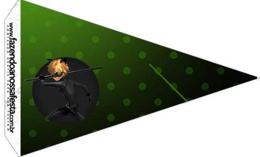 Bandeirinha Sanduiche 5 Kit Festa Miraculous Cat Noir